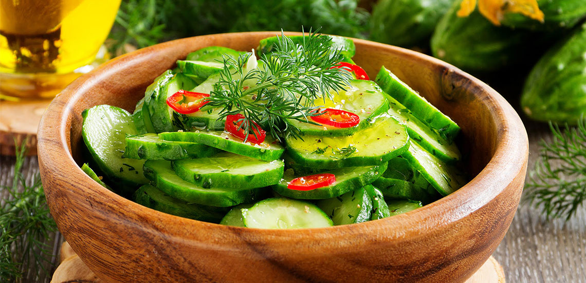 Cucumber, sesame and chilli salad