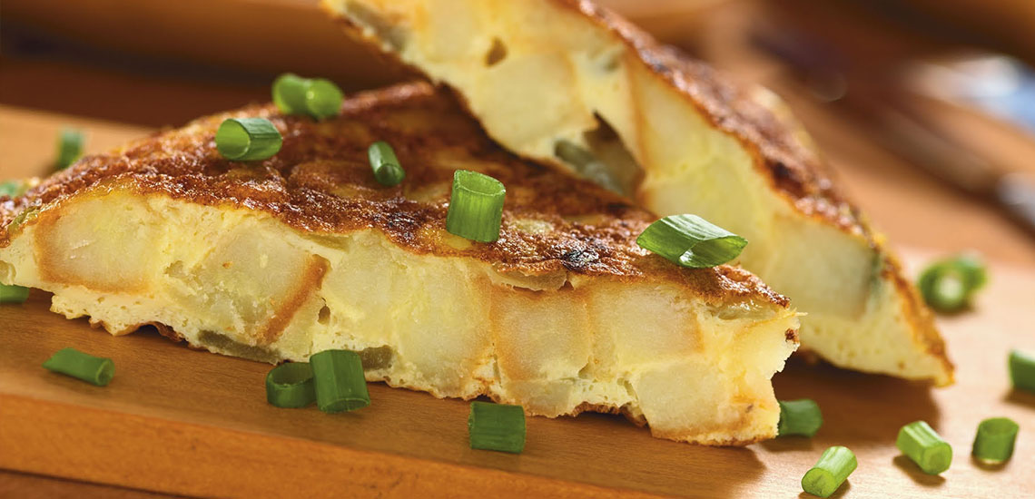 Potato and shallot omelette