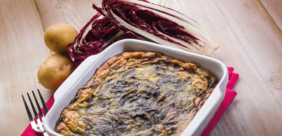 Radicchio, potato and scamorza terrine